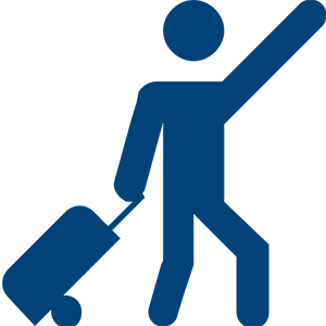 Man leaving with suitcase icon