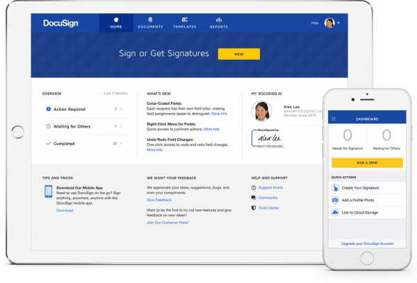 DocuSign interface on tablet and mobile