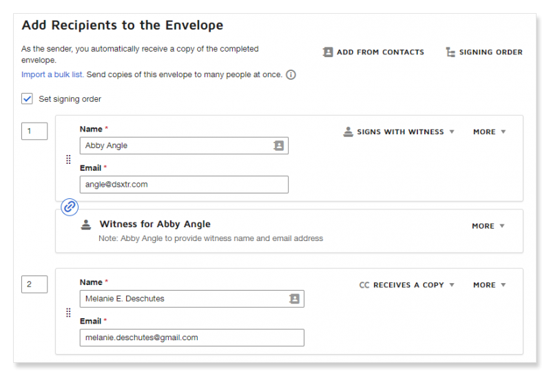 DocuSign send templates workflow