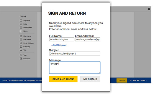 Download envelopes, documents and data from DocuSign for use with external systems. DocuSign Retrieve runs on your system as a one-time request or on a recurring basis. Configure DocuSign Retrieve to specify file type and storage location.