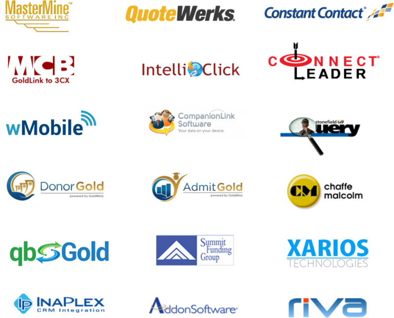 GoldMine CRM integrates with Quotewerks, Constant Contact, IntelliClick, wMobile, CompanionLink, QuickBooks, Inaplex, Riva, Microsoft Office 365