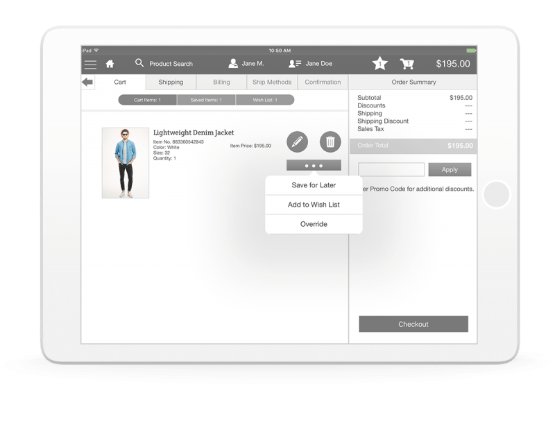 Commerce Cloud Endless Aisle screenshot on tablet