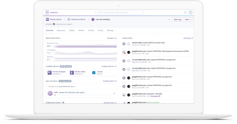 Salesforce heroku screenshot on laptop