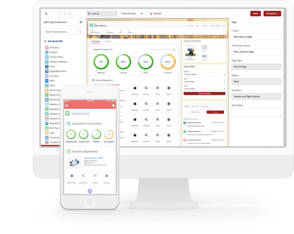 Salesforce Lightning Platform screenshot on desktop and mobile