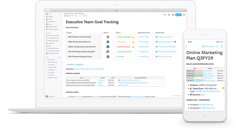 Quib by Salesforce feature documents on desktop and mobile