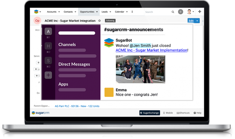 The SugarCRM Connector to Slack allows you to create message templates with SugarCRM data and send them to your Slack channels and users.