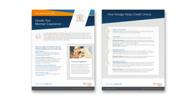 Vonage for Finance datasheet flyer