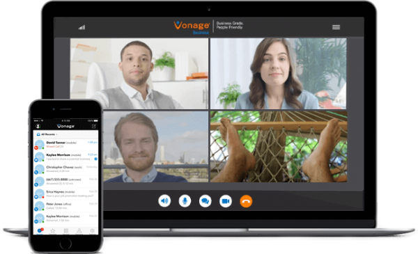 Vonage Business communications on mobile and laptop