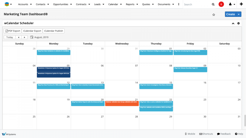 wCalendar SugarCRM - Manage and Edit Events with Ease