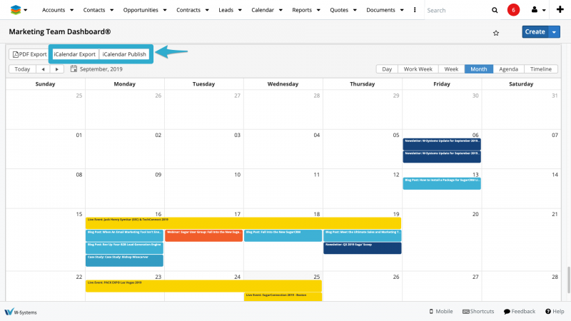 wCalendar for SugarCRM - export to ics or publish iCalendar in Google Calendar, Outlook, and more.