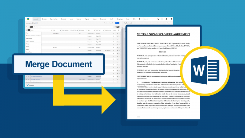 Merge SugarCRM records from any module into Microsoft or PDF documents