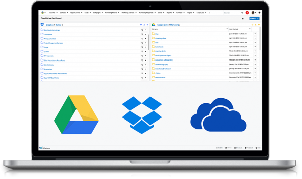 Google Drive, OneDrive, Dropbox in SugarCRM screenshot on a laptop