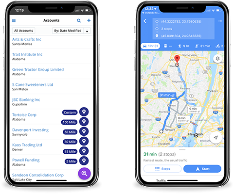 wMobile for SugarCRM - map account records and plan route on Google Maps