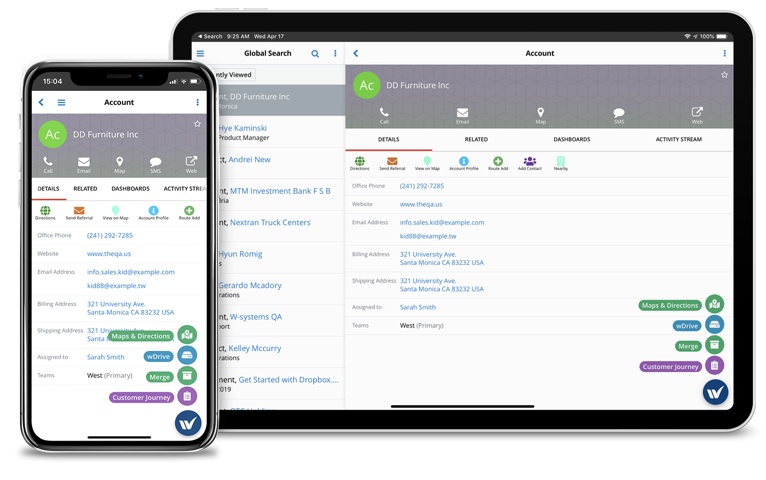 wMobile for SugarCRM on iPhone X and iPad Pro