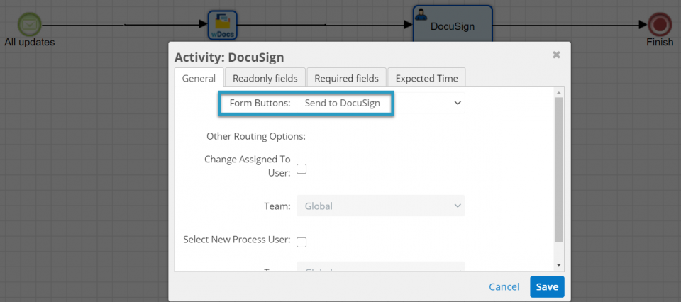 We have created a Sugar BPM workflow to allow you to send merged documents for signature.