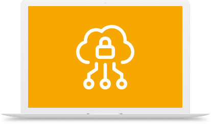 Cloud lock icon on laptop