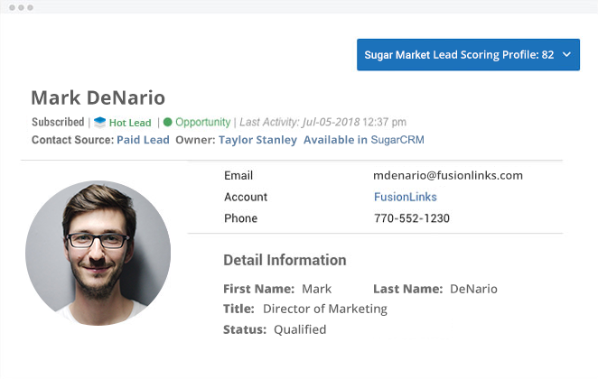 Salesfusion Hot Lead Profile