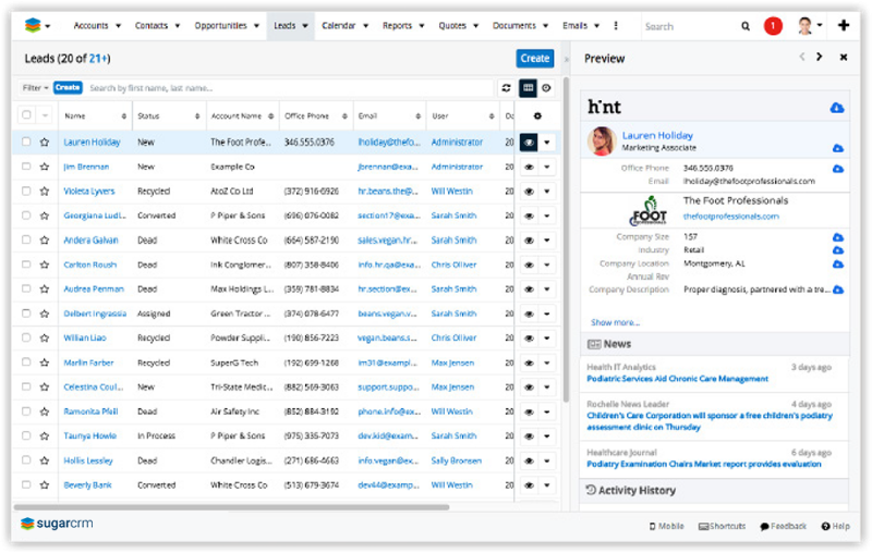 SugarCRM Hint screenshot
