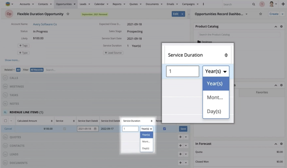 As of now, you also have the ability to change the duration of catalog-based service line items with just one click.