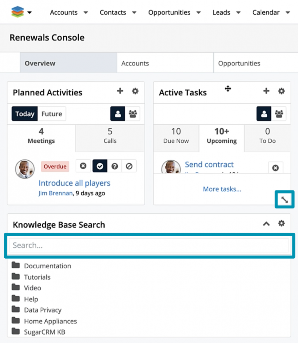Search for Knowledge Base articles via a search bar and browse the tree-based article view in the Knowledge Base Search dashlet.