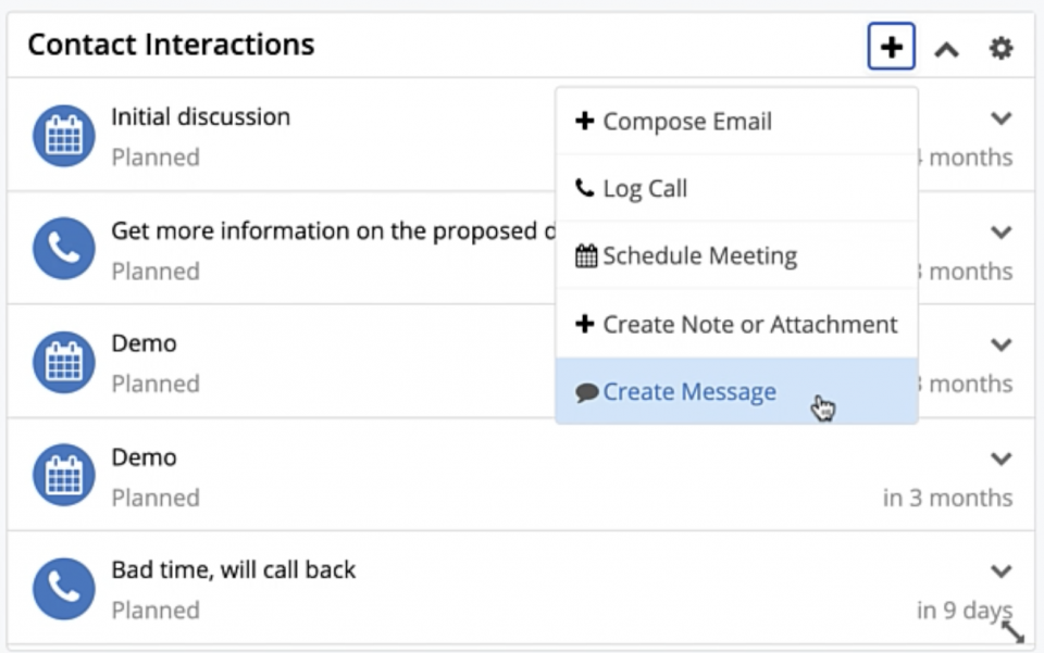 the Interactions dashlet can now be added to the Contacts module