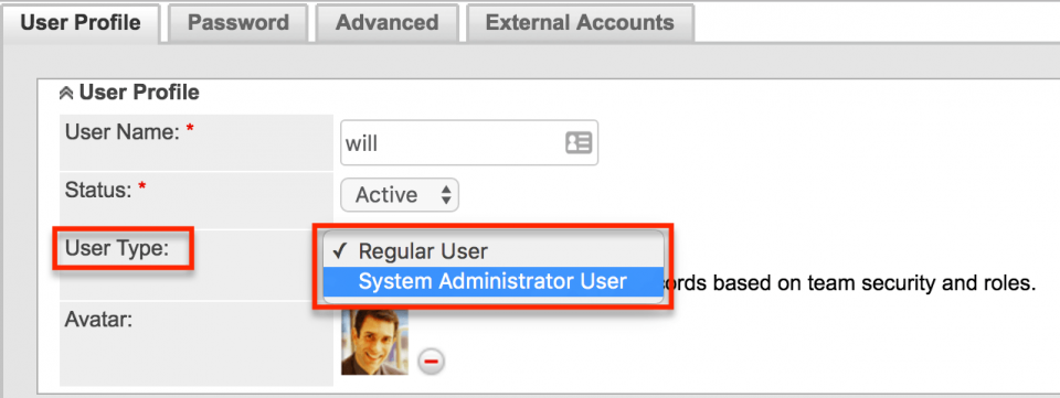 User Type in SugarCRM
