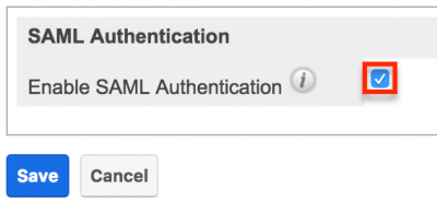 Enable SAML Authentication Screenshot
