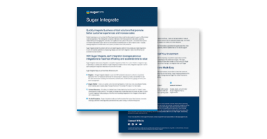 Sugar Integrate simplifies moving data into Sugar from other CX products, including ones do not natively support bulk data operations.