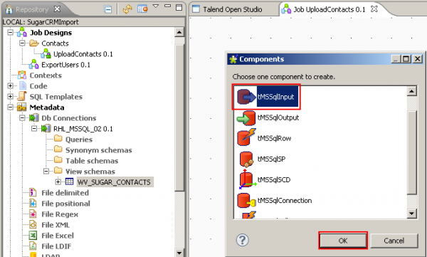 Using Talend to Upload Data to Sugar: Part 2 Creating     | W-Systems