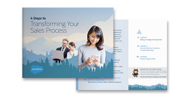 4 Steps to Transforming Your Sales Process ebook cover and page preview