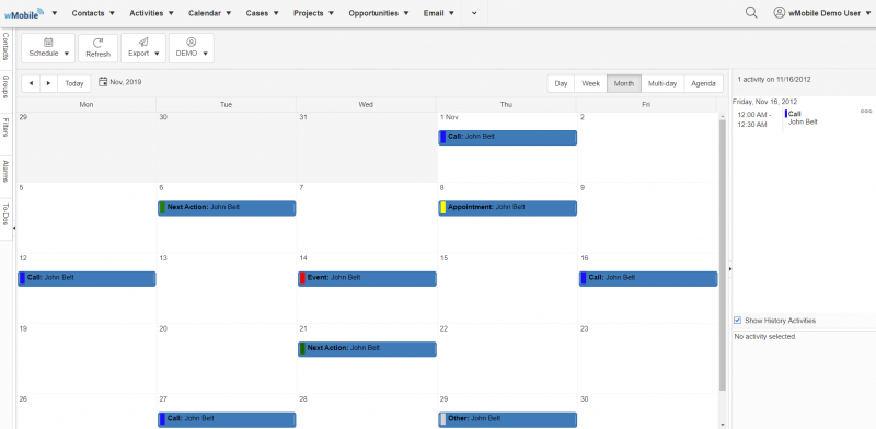 wMobile for GoldMine CRM - Monthly Calendar View