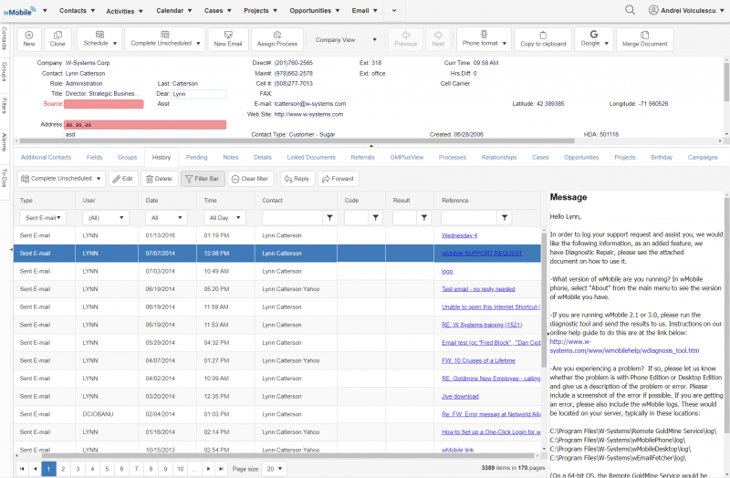 wMobile for GoldMine CRM - Real-Time Activity History